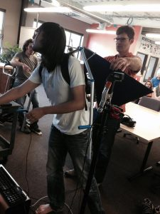Willy Cheng and Adam Walker setting up Project Icarus (Tyler Feralio in back)